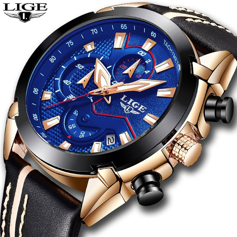 Relogio Masculino 2018 New LIGE Sport <font><b>Chronograph</b></font> Mens Watches Top Brand Luxury Leather Waterproof Date Quartz Watch Man Clock