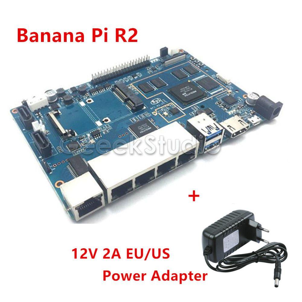 En Stock! banane Pi R2 BPI-R2 Quad-Core 2 GB RAM avec SATA WiFi Bluetooth 8 GB mem + 12 V 2A UE/US DC Alimentation