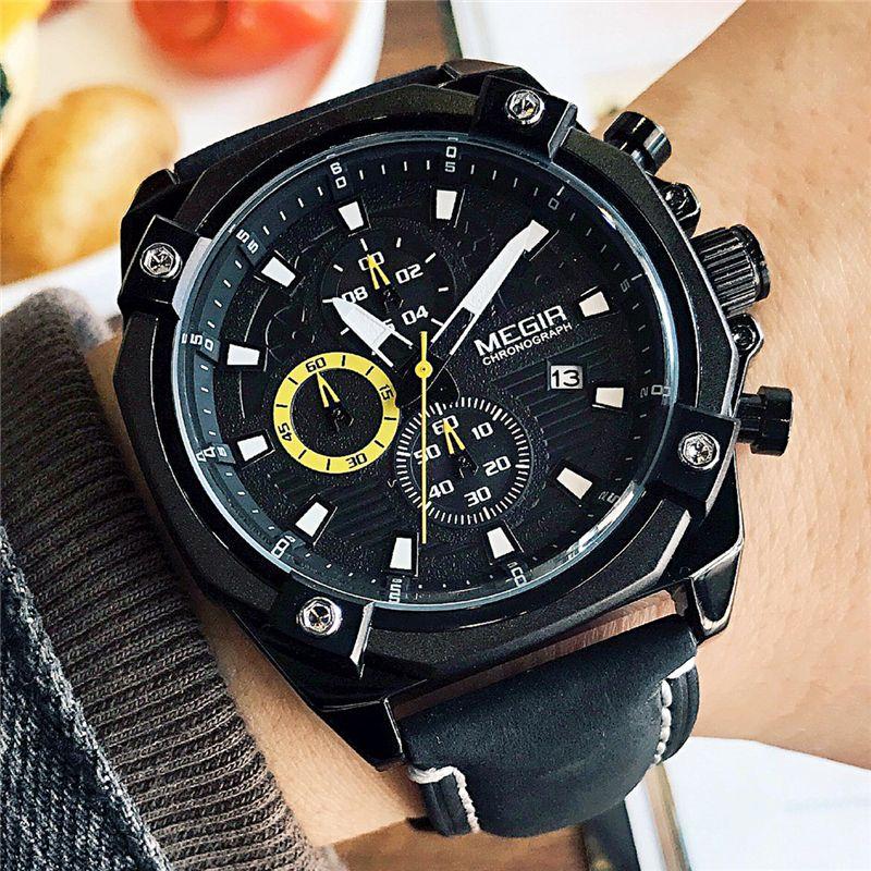 MEGIR Original Band Men Casual Waterproof Watch Military Chronograph Sport Multifunctions New Style Leather Strap Elegant Clock