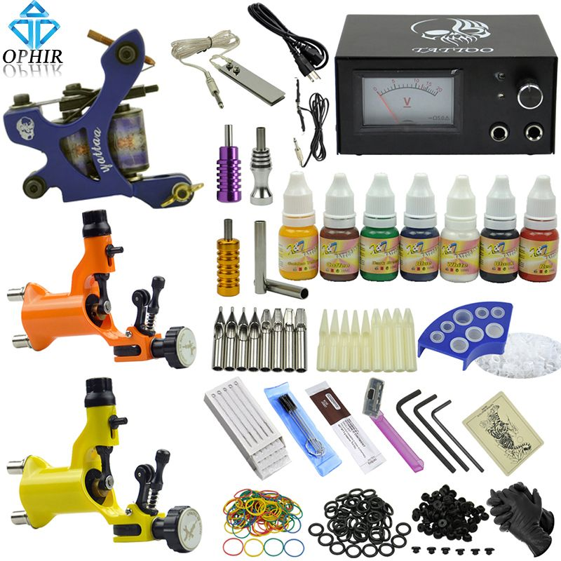 OPHIR Pro Kit De Tatouage Complet 3 PCS RotaryTattoo Machine 7 Couleur De Tatouage encres 50 Aiguilles 8 Buses Set pour Body Tattoo Art _ TA077