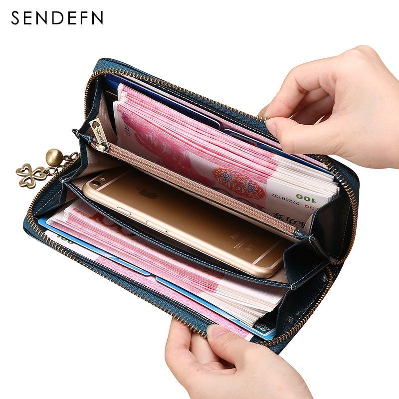 Большой Ёмкость Для женщин качества сцепления кошелек Разделение кожаный бумажник женский длинный кошелек женская обувь на застежке-молни...