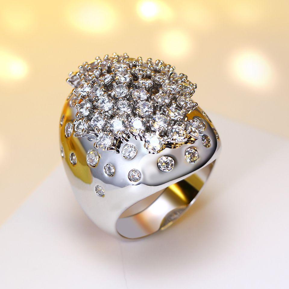 2018 новый релиз обручальные кольца для женщин Гипербола дизайн отличное качество Анель де noivado цирконий, ювелирные сверкающим кольцом!