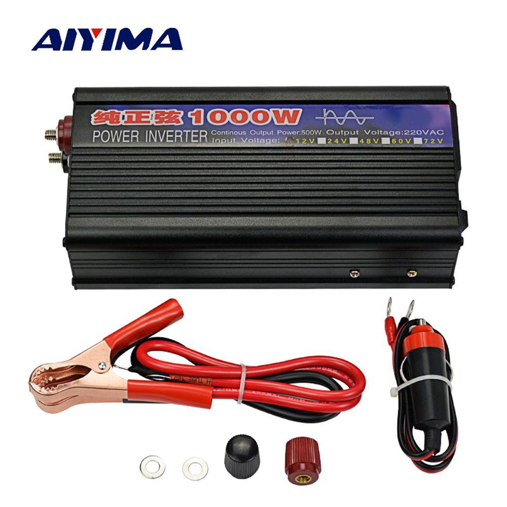 AIYIMA 1000 W pur onduleur à onde sinusoïdale DC12V/24 V à AC220V 50 HZ convertisseur de puissance Booster pour voiture onduleur ménage bricolage