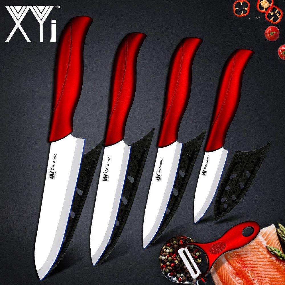 Couteau de cuisine XYj couteau en céramique outils de cuisine Set de couverts 3 4 5 6 pouces + éplucheur en céramique