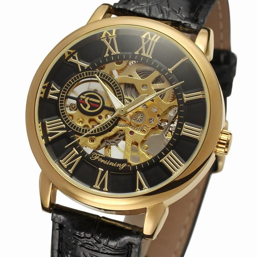 New Men Watch Fasion 3d Logo Design Black Gold Case Leather Skeleton Men Luxury Brand Heren Horloge