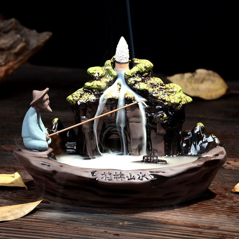 Backflow Incense Burner Home Decor Ceramic Smoke Backflow Incense Stick Holder Censer + 10Pcs Incense Cones