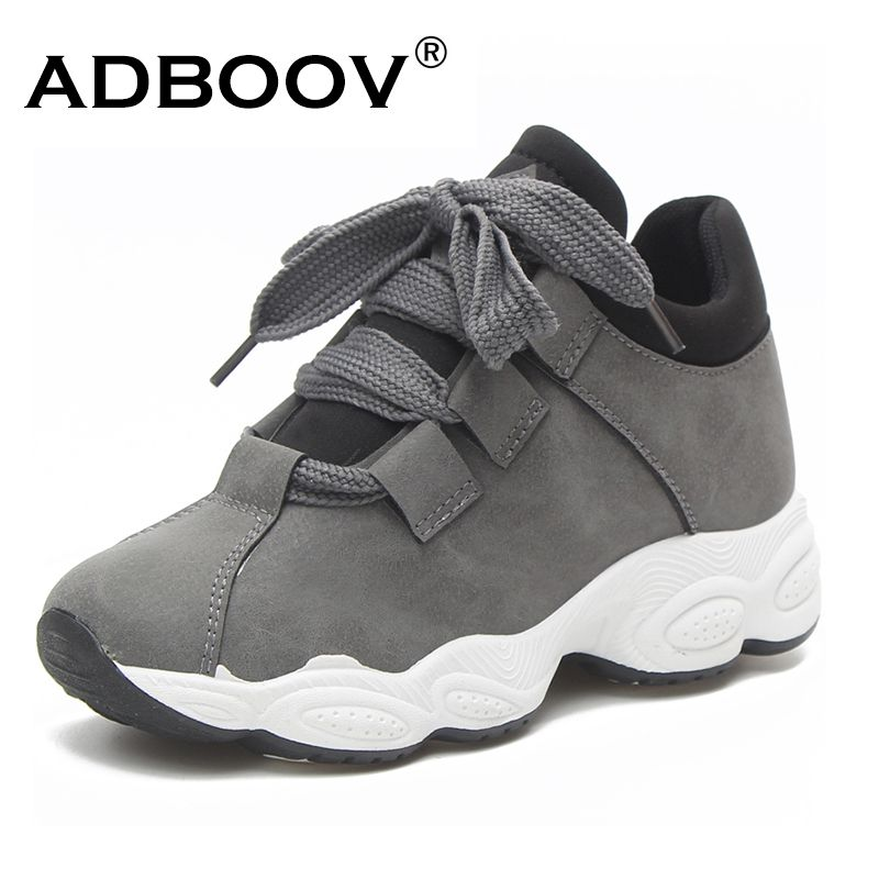 ADBOOV Autumn Winter Platform Sneakers Women Pig Suede Comfortable Casual Shoes Woman Korean Fashion Zapatos De Mujer Gray Black
