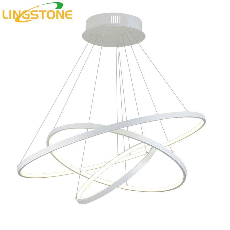Modern Led Chandelier Lighting With Remote Control Aluminum Lustre Ring Lamp For Living Room Bedroom Restaurant Kitchen Fixtures