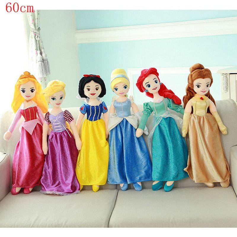 Chaud! 65cm peluche Moana neige blanche cendrillon sirène princesse poupée Anna et Elsa bébé jouets Brinquedos meilleurs jouets pour enfants cadeau