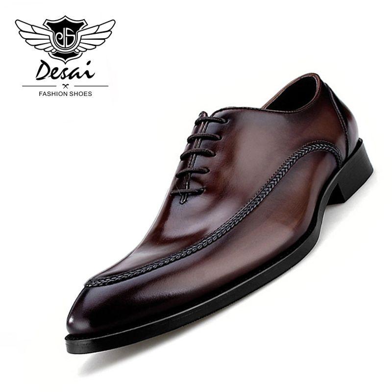 2019 luxus Echtes Leder herren Schuhe Business Britischen Stil Spitzen Teo Schuhe Handgemachte Leder Schuhe für Business Männer