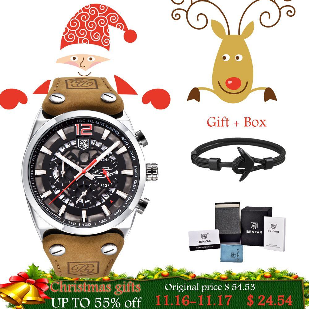 BENYAR Brand Chronograph Sports Men Watches Fashion Military Waterproof Leather Quartz Watch Relogio Masculino Zegarek Meski