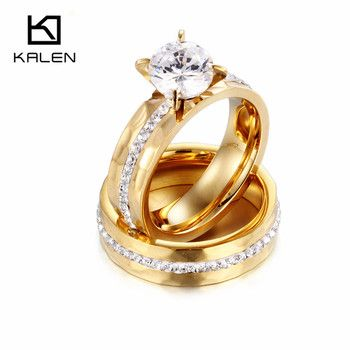 Kalen Wedding Rings Jewelry Stainless Steel Bulgaria Gold Color Couples Promise Rings Women Crystal Love Bang Engagement Rings