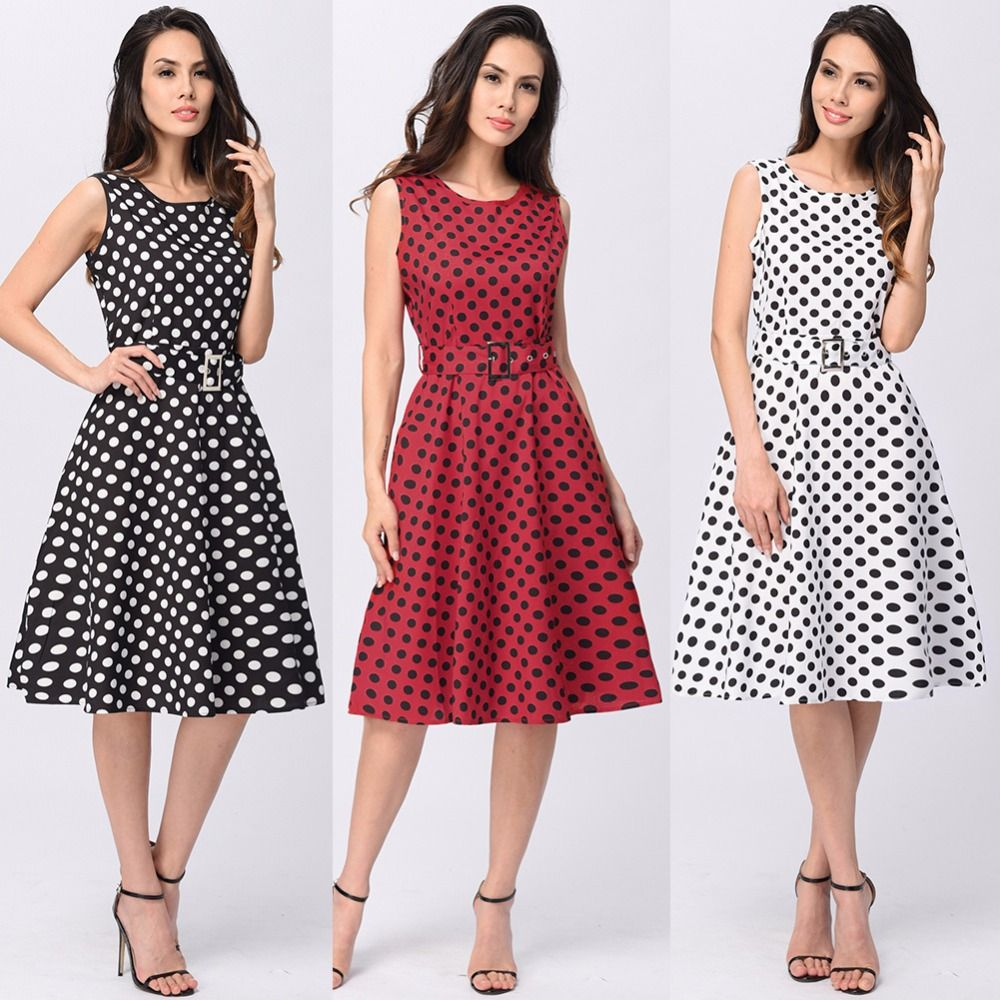 Casual women sleeveless polka dot swing skater dress with sashes Summer women's tunic vintage 50s rockabilly midi Robe Sundress