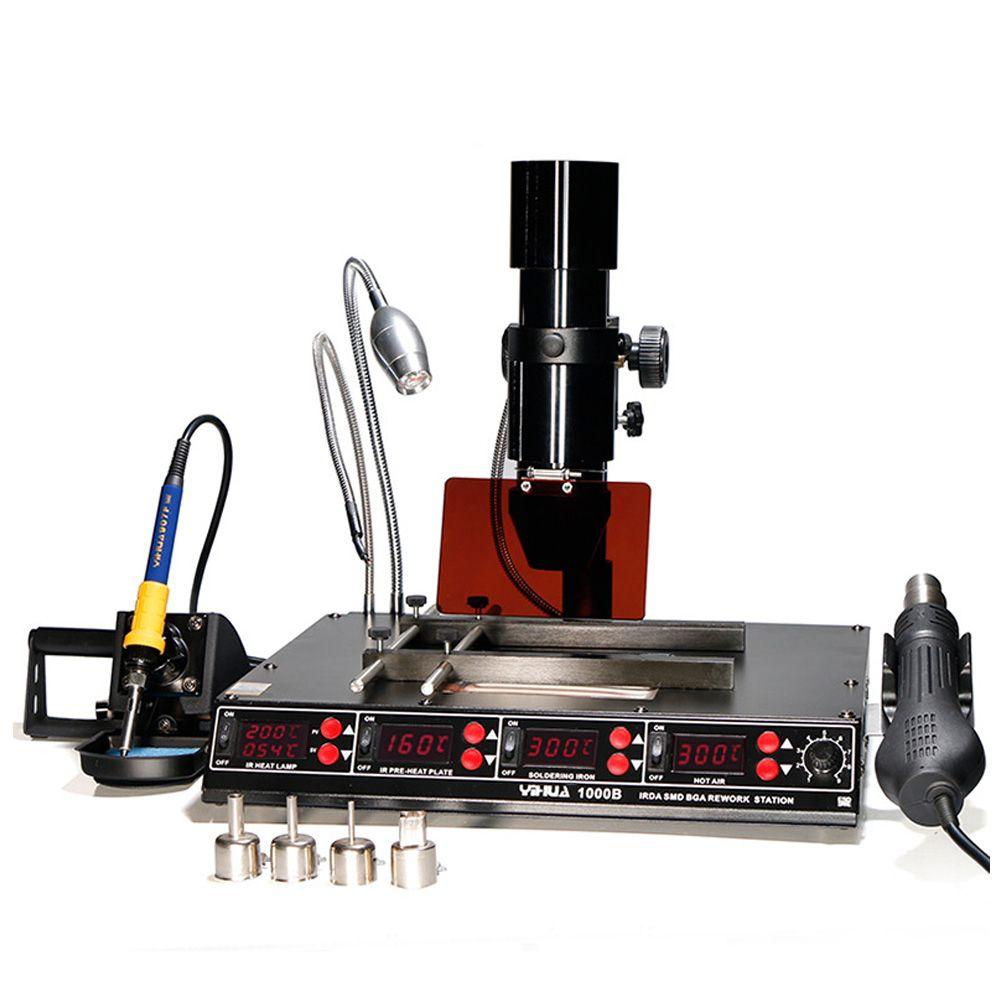 Infrarot Bga Rework Station SMD Heißluft Pistole 4 Funktionen in 1 BGA Blei-freies Löten Station BGA Reparatur maschine Kit 1000B