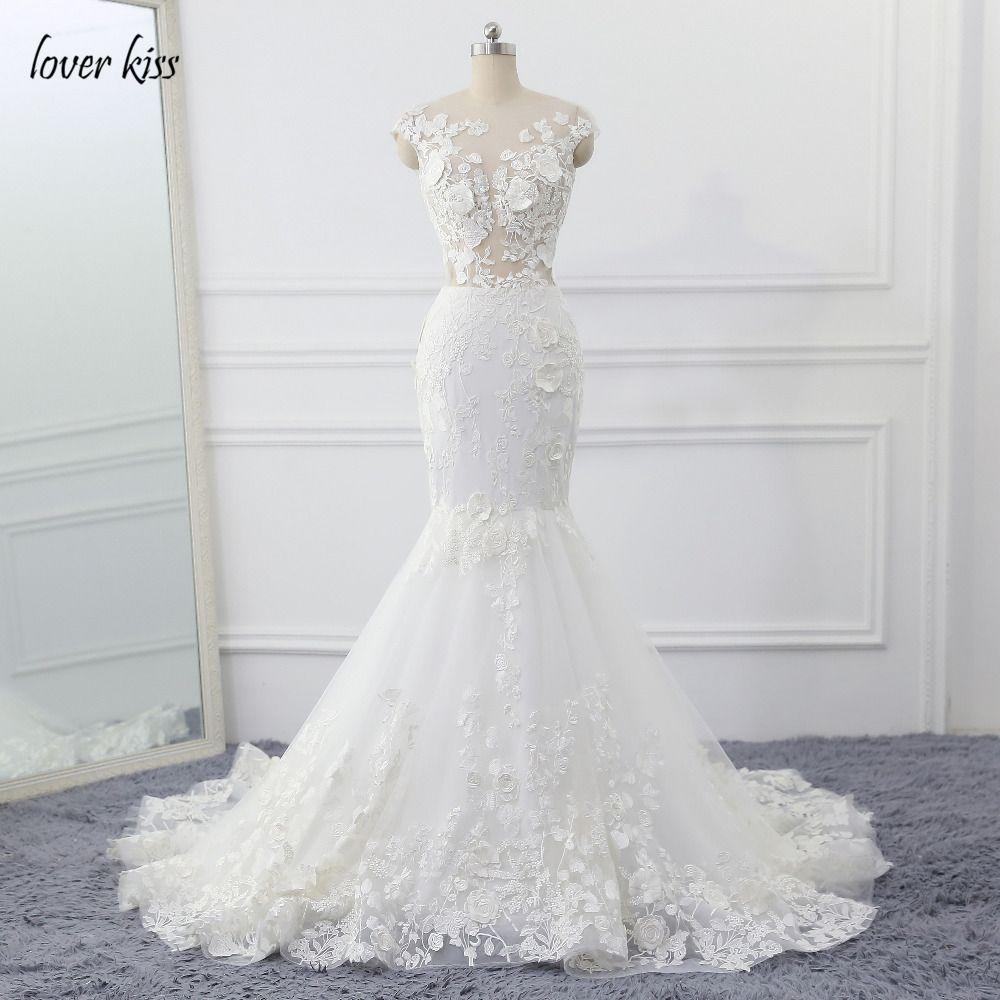 Amante beso vestido de novia 2017 vintage sirena Encaje apliques bolas vestido de boda Vestido novia Vestidos Vestido de Noiva
