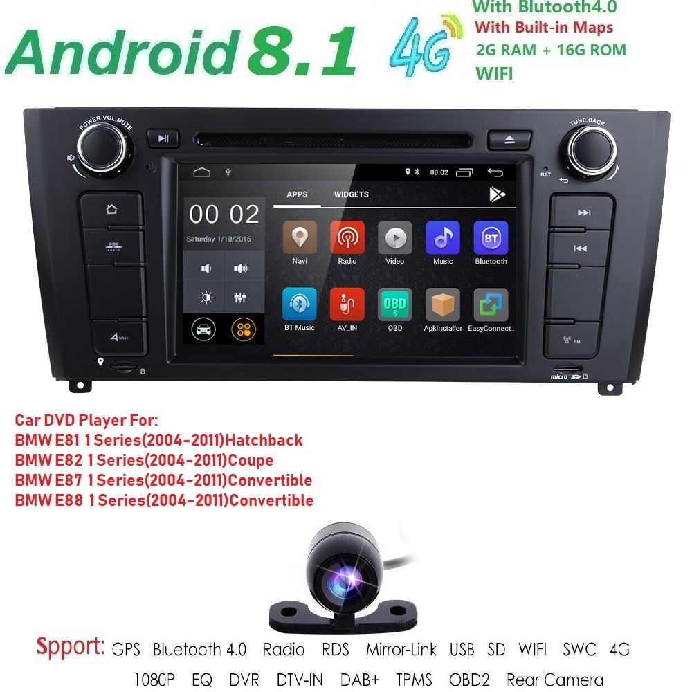 7 1 Din Android 8.1 Quad Core Auto Radio GPS Navi Auto DVD Player Für BMW 1 Serie E81 E82 e87 E88 I20 2004-2011 Kopf Einheit BT Wifi