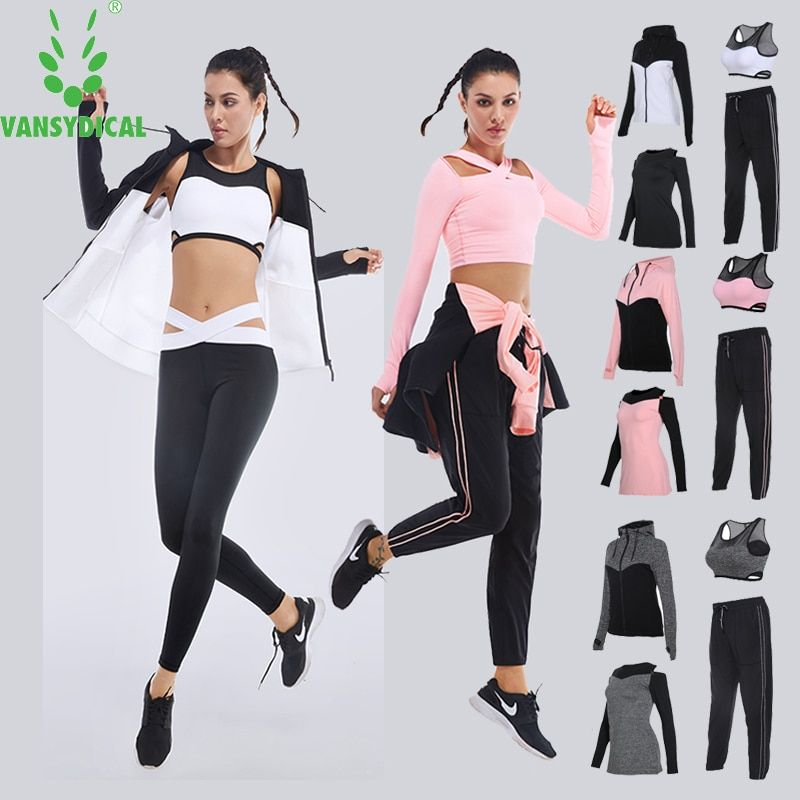Brand 2017 Women's Sport Suits Fitness Yoga Set Sportswear Training Running Tights Quick Dry Striped Gym Jogging Clothes