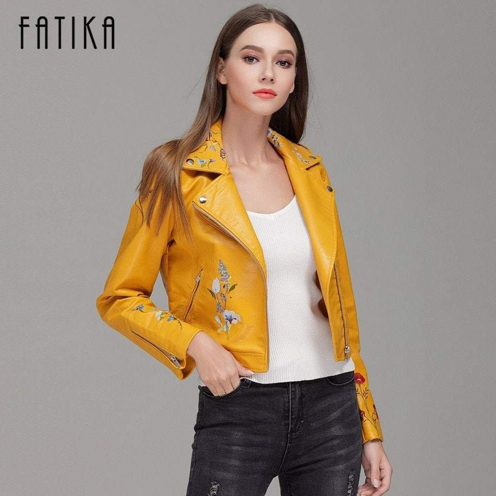 FATIKA 2017 Autumn Winter Fashion Women Faux Leather Jackets and Coats Zipper Up Embroidery Flying Motorcycle Jacket Outwear