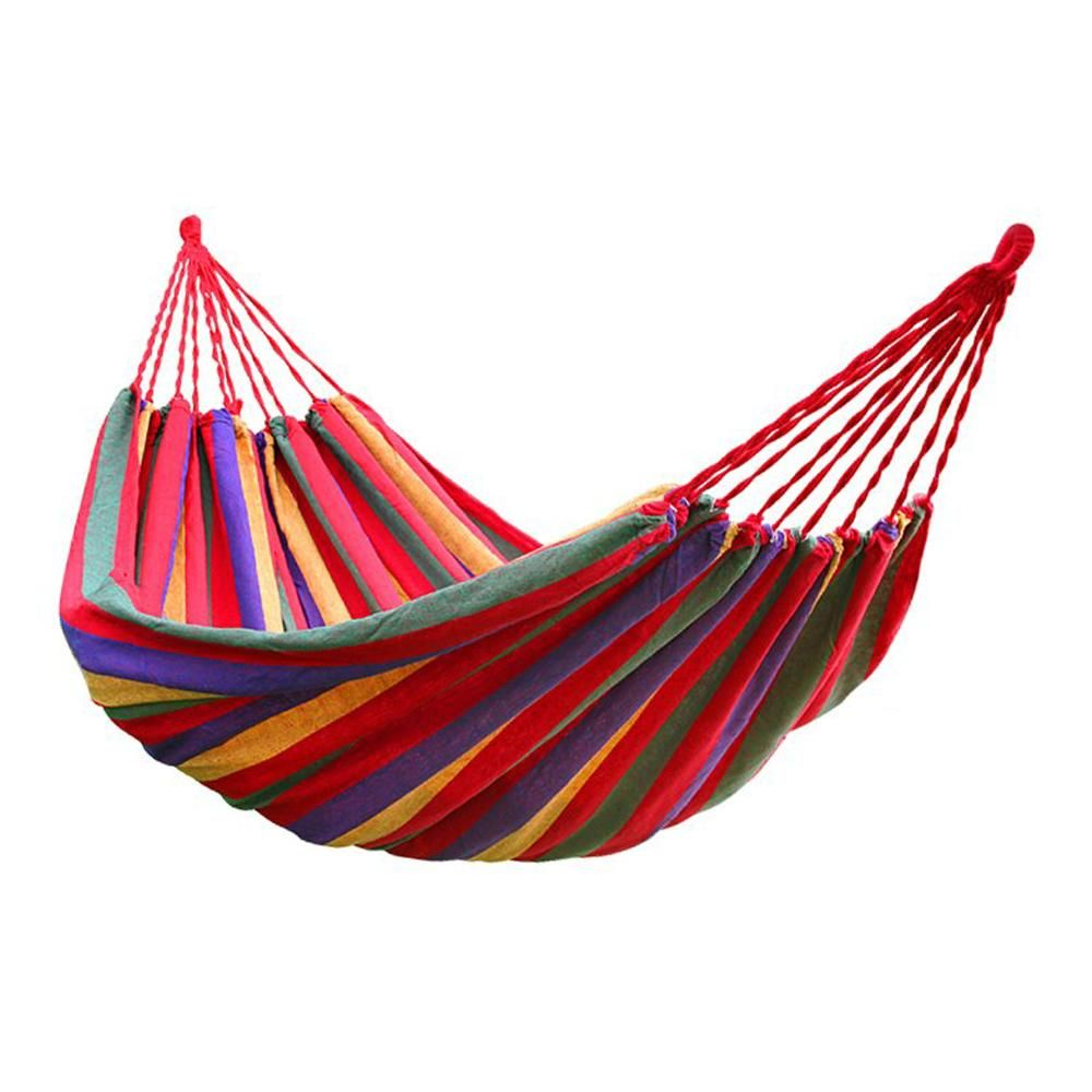 GSFY!190cm x 80cm Stripe Hang Bed Canvas Hammock 120kg