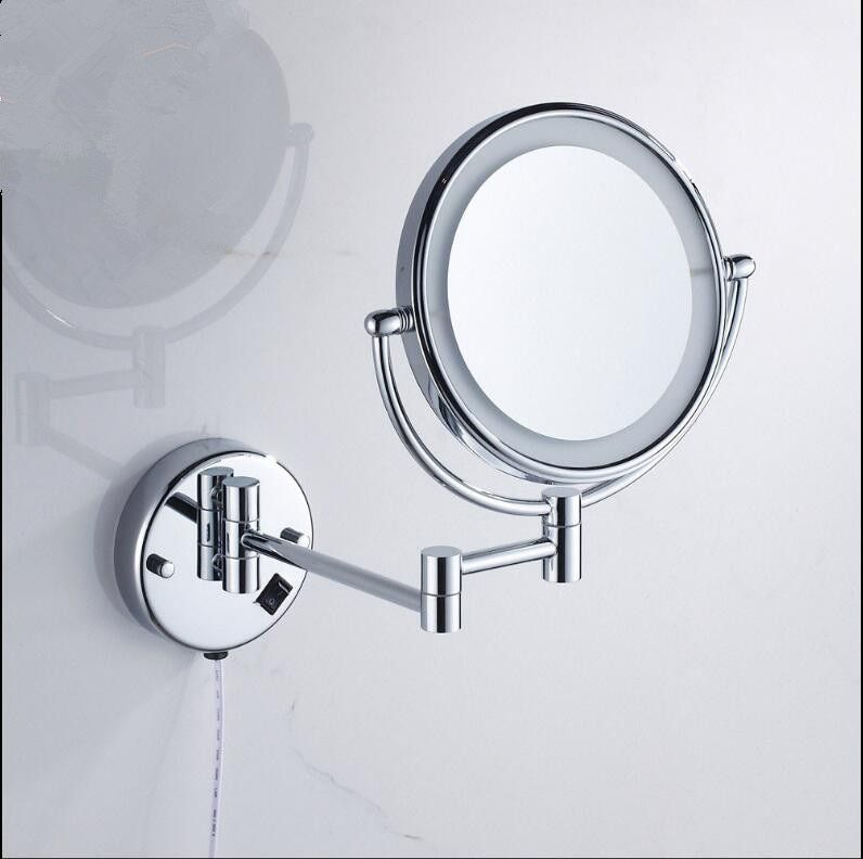 Bathroom Mirror Wall Mounted 8 inch Brass 3X/1X Magnifying Mirror LED Light Folding Makeup Mirror Cosmetic Mirror Lady Gift