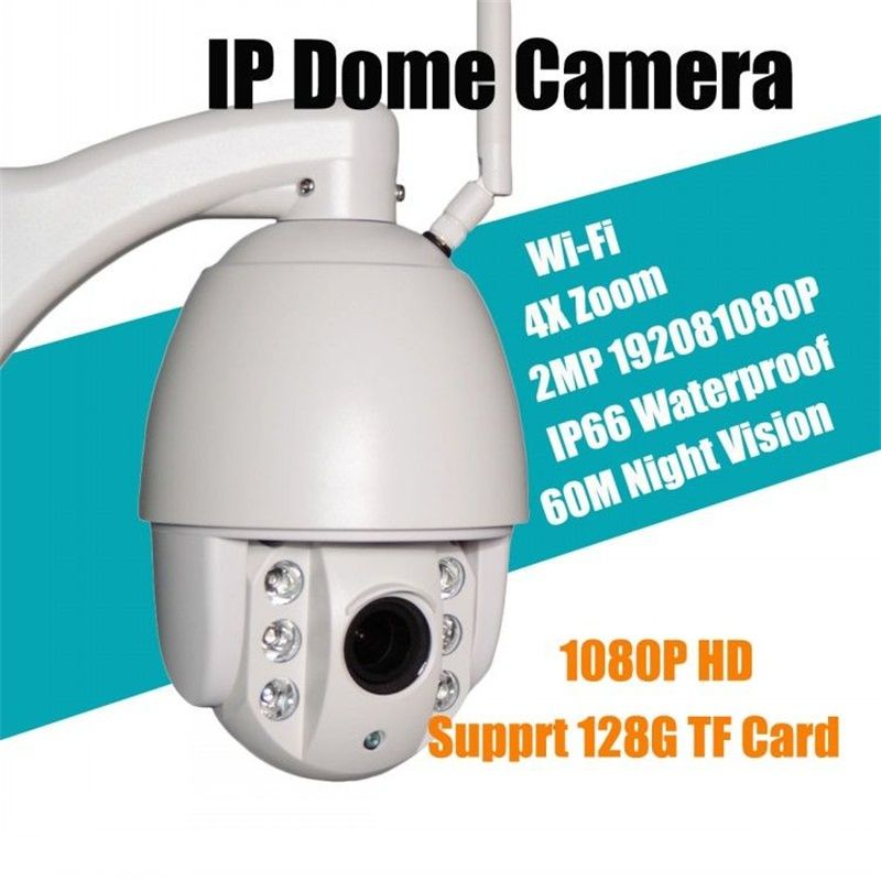 2.0MP PTZ WIFI ip outdoor camera 4X Zoom HD Network CCTV Dome 1080P Camera With IR-CUT Onvif P2P Support 128G SD Card