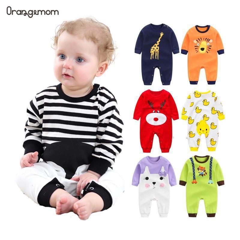 Orangemom 2019 nouveau-né bébé fille garçon porter pur coton vêtements pour bébés, mode bébé garçon vêtements enfants barboteuses 100% coton corps