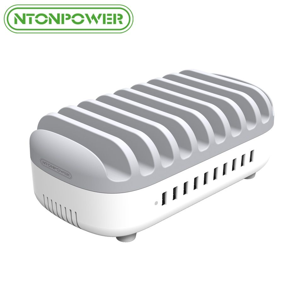 NTONPOWER Desktop Multi USB Charging Station Dock with Phone Holder Organizer 10 Ports 2.4A Fast Charging for iPad/iPhone/Xiaomi