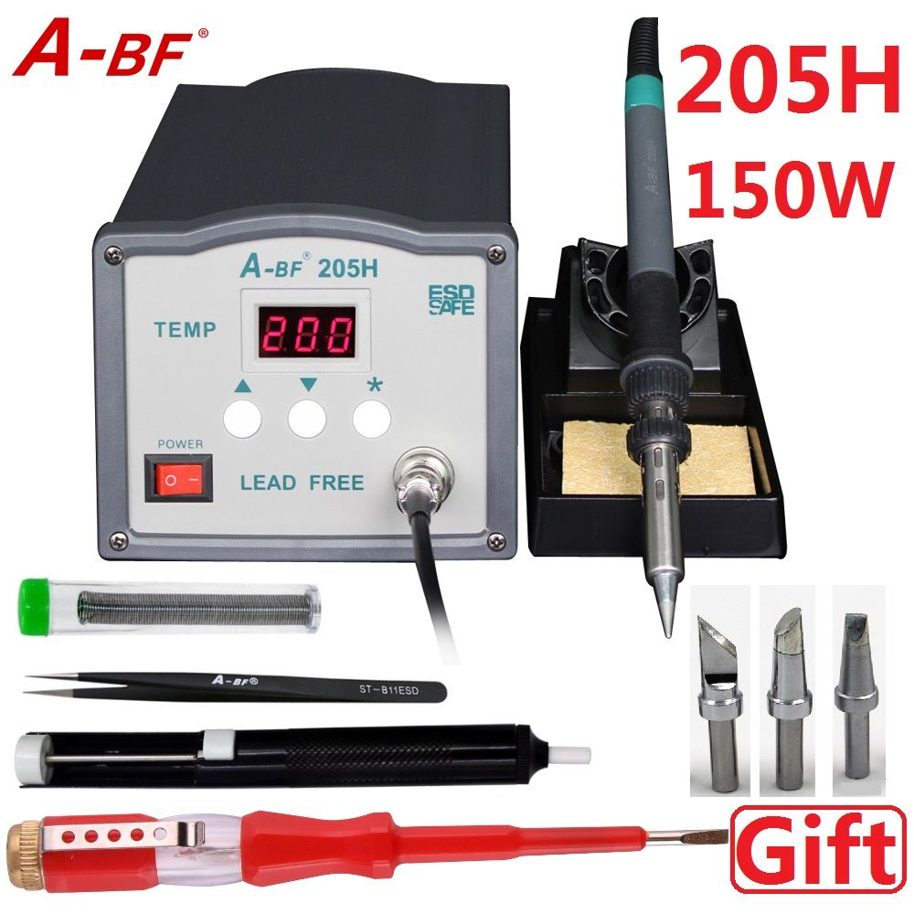 A-BF High Frequency Soldering Station 220V 203H 90W 205H 150W Lead free using 200 500 Soldering Iron Tips with desoldering pump