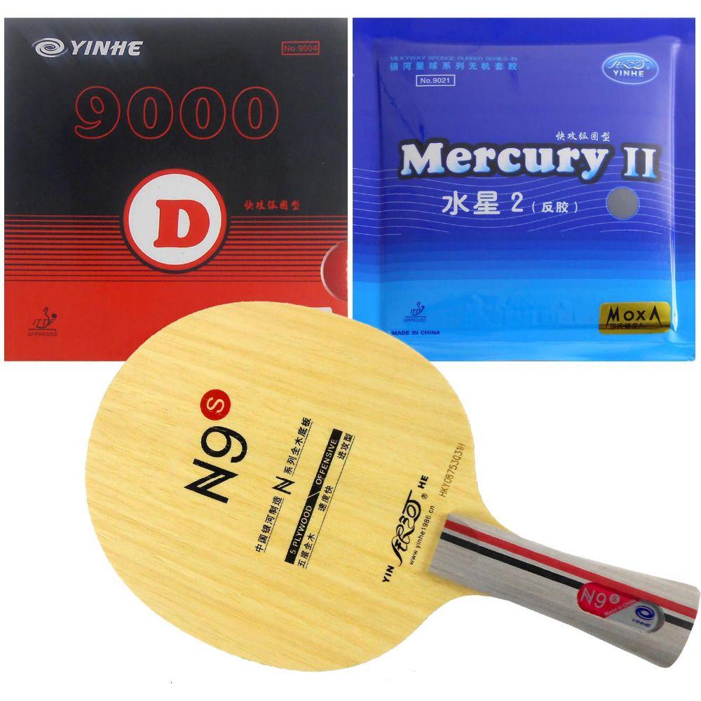 Pro Tischtennis PingPong Combo Schläger Galaxy YINHE N9s mit Galaxy 9000D und Quecksilber II Rubbers für einen Schläger Lange Shakehand FL