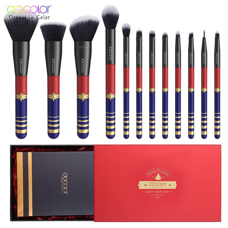 Docolor 12 PCS Make-up Pinsel Set Weihnachten Geschenk Pinsel für Make-Up Nizza Paket Synthetische Haar Pulver Stiftung Auge Pinsel