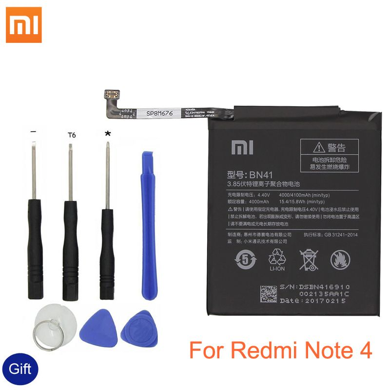Xiao Mi BN41 Phone Battery For Xiaomi Redmi Hongmi Note 4 / Note 4X MTK Helio X20 4000mAh Original Replacement Battery + Tool