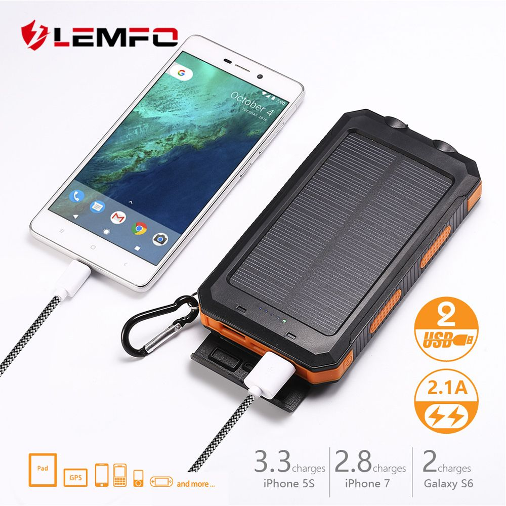 LEMFO Solar Power Bank Solar 10000 Mah External Battery High Power Rechargeable Led Flashlights Powerbank