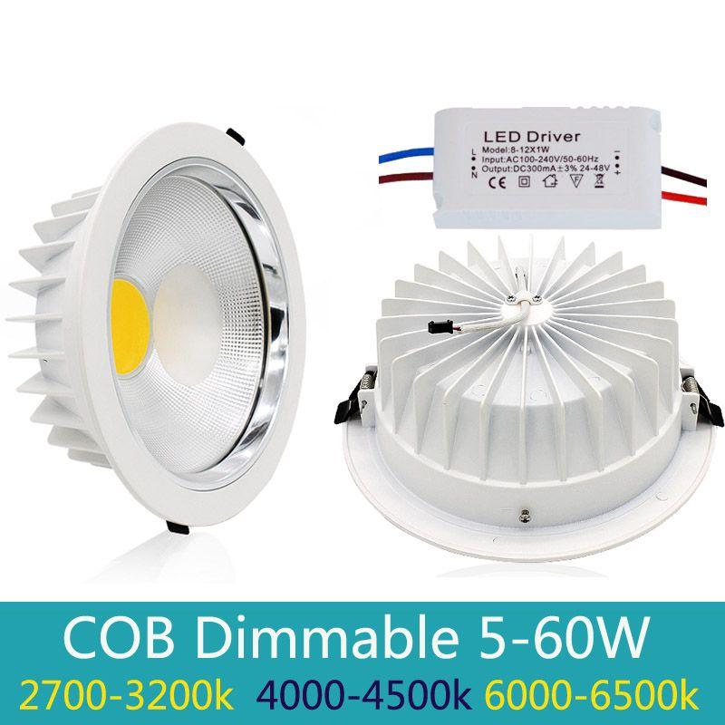 Nouveau Dimmable Led Downlight COB Spot LED 5 w 10 w 20 w 30 w 40 w led encastré au plafond Lampe Chaud Blanc Froid led Spot Intérieur Lumières IP44