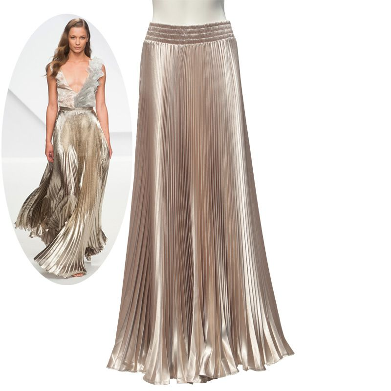 Spring Autumn Fashion Elegant Metal Elastic Waist Long Pleated Skirts 2017 <font><b>Bright</b></font> Satin Ladies Maxi Long Tulle Women's Skirts