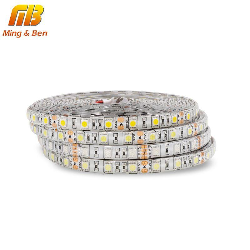 5 M LED bande SMD5050 Flexible lumière 60 LED s/m 12 V DC imperméable P65 IP20 ruban adhésif blanc chaud blanc froid blanc RGB LED bande