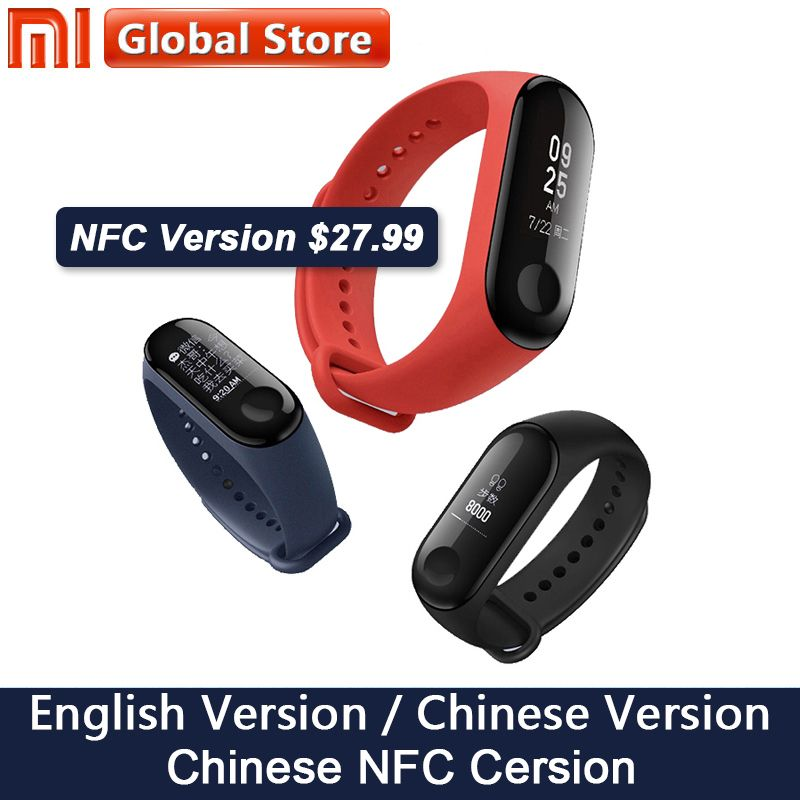 Nouvelle D'origine Xiao mi mi Bande 3 NFC Smart Bracelet Bracelet 0.78 pouce OLED Instantanée Message Appelant ID mi bande 3 Fitness Tracker