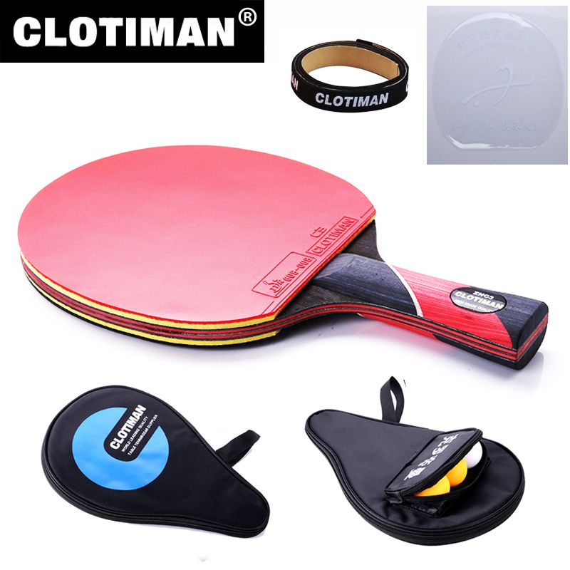 Meilleur qualité carbone bat tennis de table raquette avec caoutchouc pingpong paddle court poignée tennis de table rackt long manche offensive