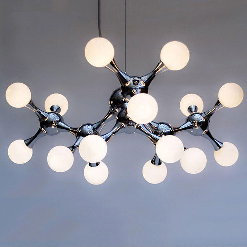 Post modern Glass ball chandelier living room hanging lights Nordic fixtures LED suspension luminaires bedroom suspended lamps