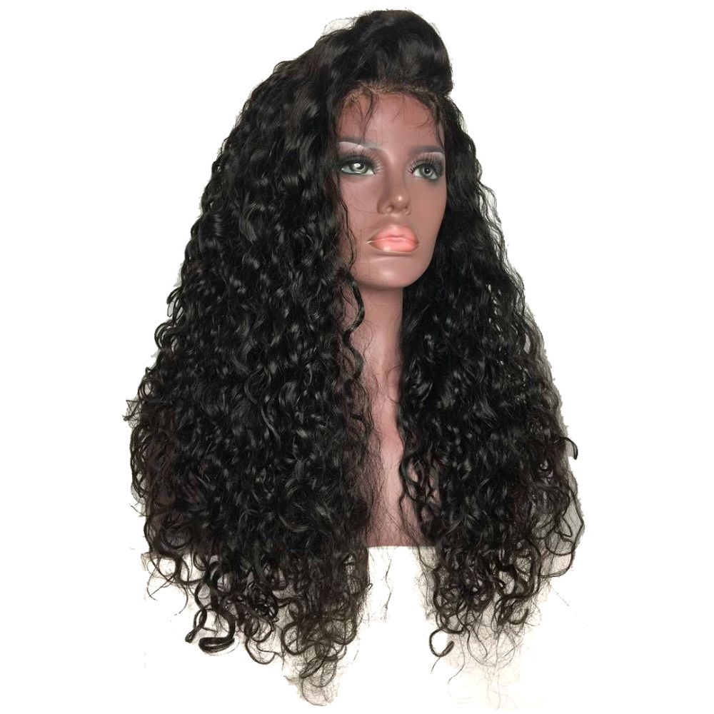Pelucas Sintéticas Del Frente Del Cordón Para Las Mujeres Negras de Densidad completa Largo Rizado rizado Negro Pelucas de Pelo Parte Libre de la Peluca con el Pelo Natural Del Bebé