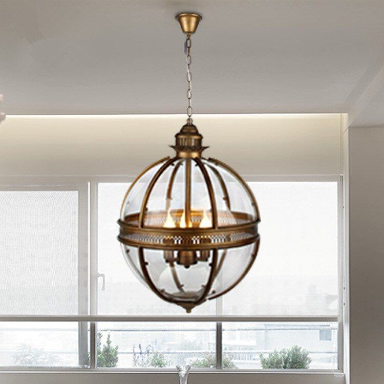 Vintage Loft Pendant Lights Wrought Iron Glass Shade Round Lamp Kitchen Dinning Bar Table Luminaire Fixture Hanging Lamps