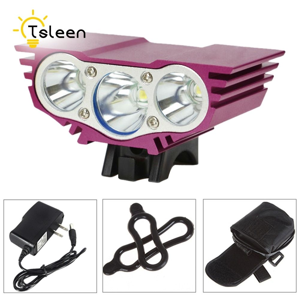 TSLEEN 6000LM Cree XM-L T6 Front LED Bicycle Light Rechargeable Bike Lamp Flashlight Outdoor Durable Bike lamp Waterproof