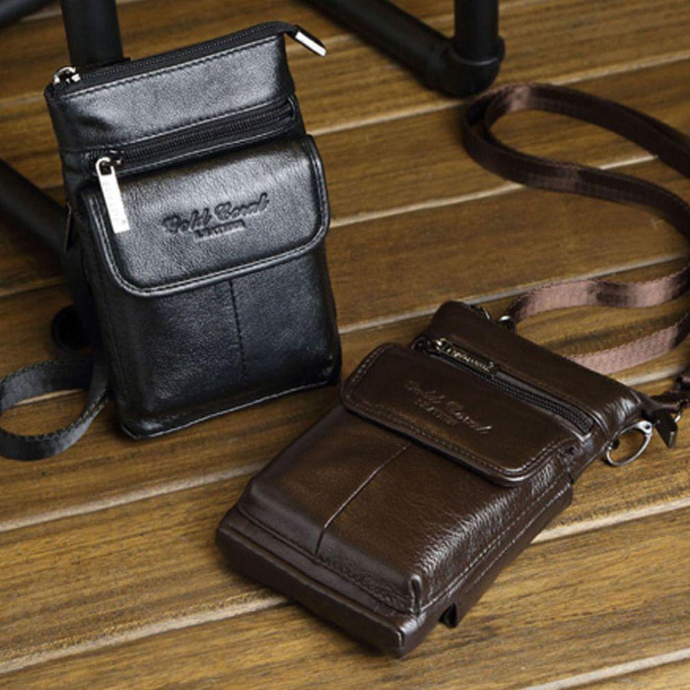 New Men's Vintage Genuine Leather Cowhide Hook Belt Buckle Shoulder Messenger Crossbody Fanny Waist Bag Wallet Pouch