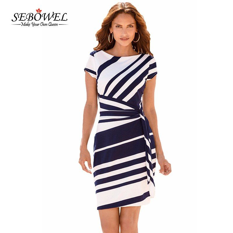SEBOWEL Summer Elegant Women Black White Striped Office <font><b>Work</b></font> Dress Casual Ladies Slim Sheath Bodycon Short Party Dress Vestidos