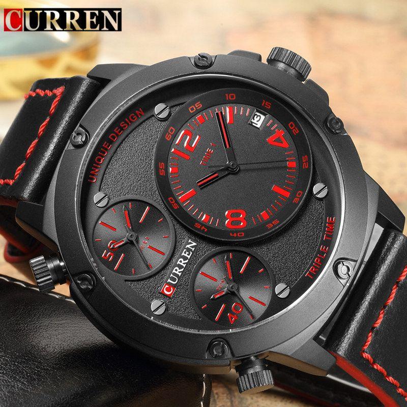 2017 Relogio Curren Watch Men Brand Luxury Black Leather Strap Quartz Wrist Watch Men's Fashion Casual Sport Clock Mens Watches