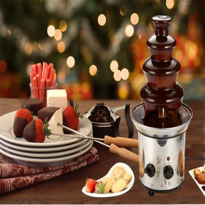 4 tiers 46cm Fantanstic Stainless Steel Chocolate fountain machine 110V 220V Fondue Event Exhibition Wedding Birthday Party