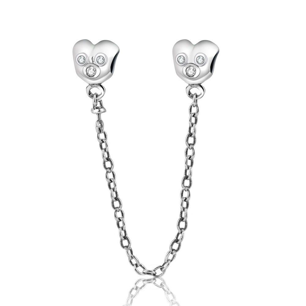 Fit Original Pandora Charms Bracelet 925 Argent Chaîne de Sécurité de Bande Dessinée Mickey Charme Perles Bijoux Faisant Cadeau De Noël Berloque