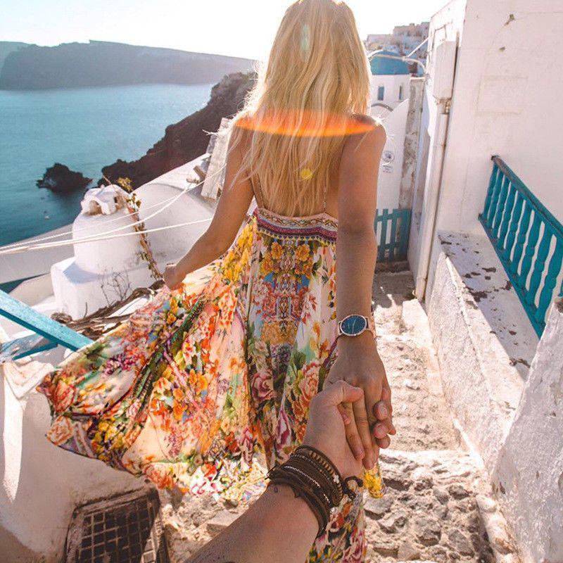Nouveau femmes été Boho robe de mode à bretelles Slip Maxi robe dames fête vacances Vocation porter robe d'été vêtements de plage robe d'été