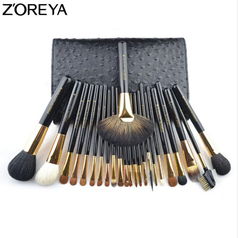 ZOREYA Marke Sable Haar 24 stücke Make-Up Pinsel Set Professionelle Als Bilden Werkzeug Für Schönheit Frau Kosmetik Pinsel Mit kosmetik Tasche