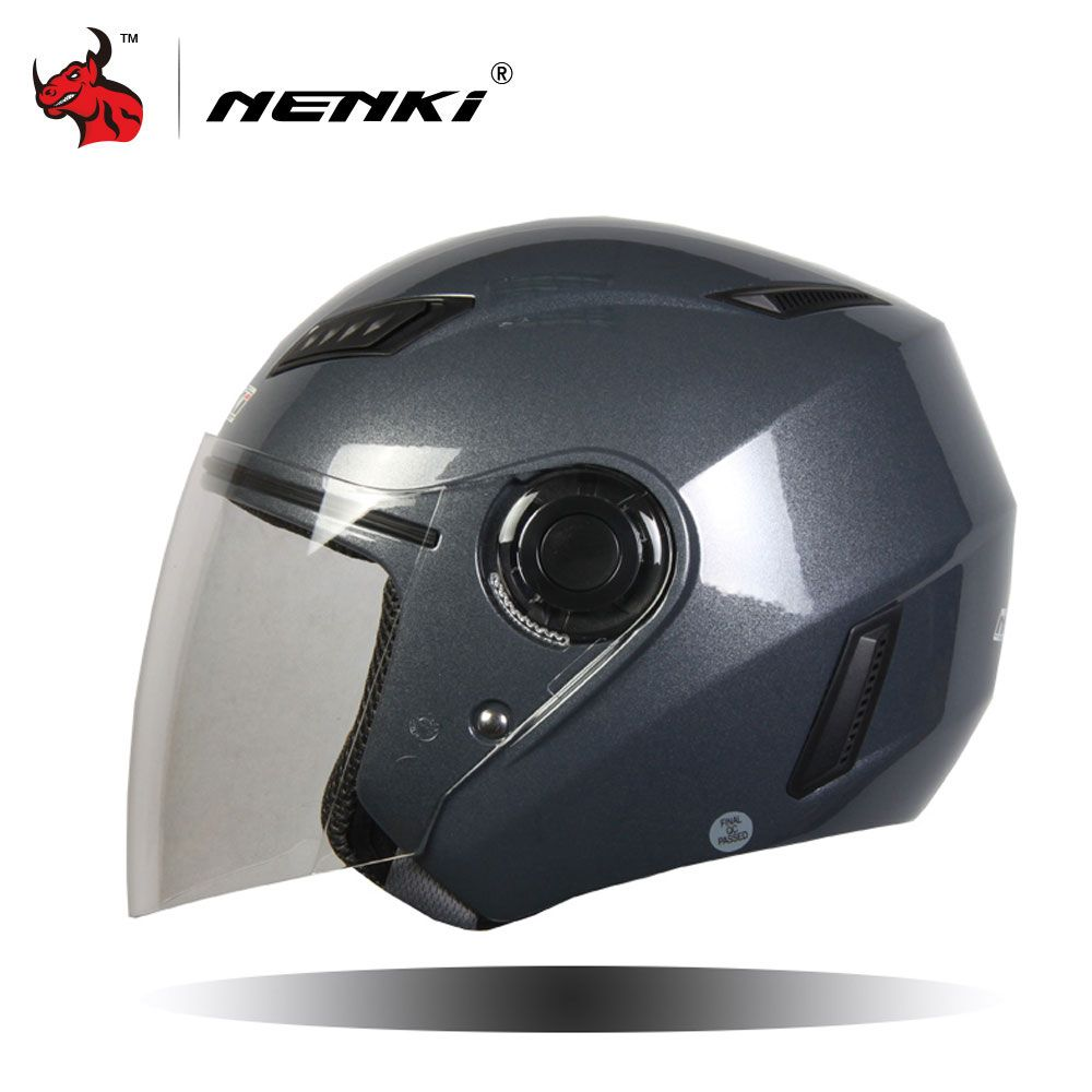 NENKI Motorcycle Helmet Motorcycle Scooter Helmet Moto Open Face Summer Half Helmet Motor Helmets And Clear Lens