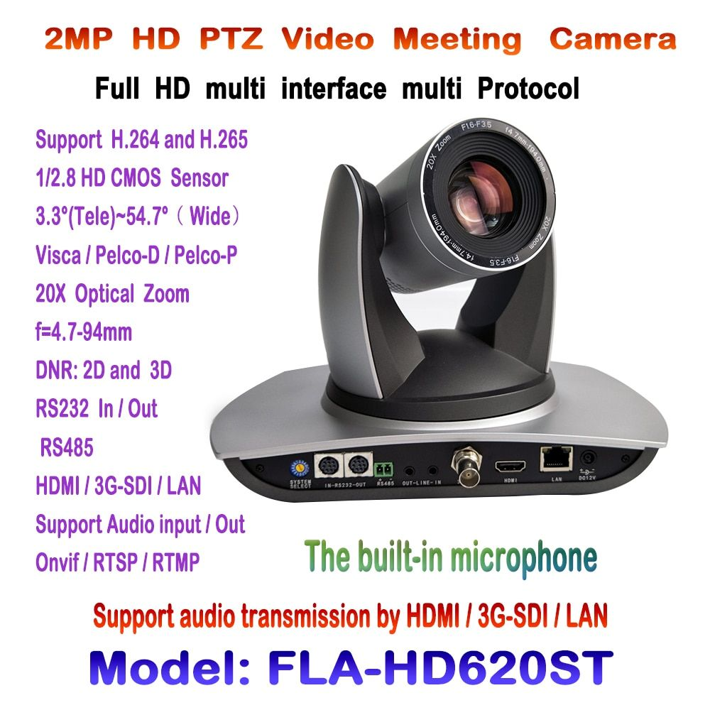 PTZ 20X 1080p 60fps Video Conference Camera Built-in Audio device with 3G-SDI HDMI and IP Streaming Onvif RTSP RMTP VISCA PELCO